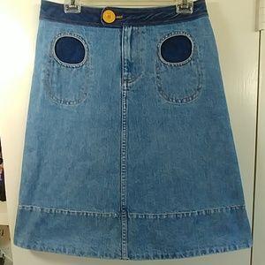 Marc Jacobs denim skirt round pockets